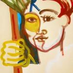 Femme brandissant le bâton Acrylique 9 x 12 po
