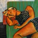 Katya Sleeping a Acrylique 4 x 3 pi