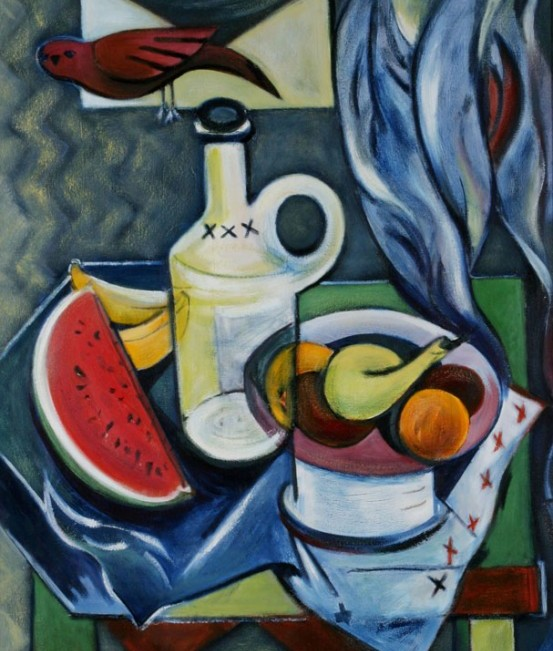 Nature morte au melon Acrylique 24 x 30 po