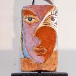 Tête à 4 faces II a Pierre Tarasco, billes, objet trouvé 9.5 x 4 x 4 po