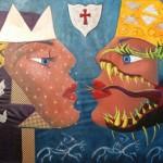 Una & Duessa Acrylique & Collage 8 x 5 pi