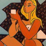 Femme au Cellulaire - Acrylique 30 X 24 po © Gouvernement du Canada