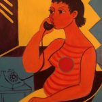 Seated Woman with Phone - Acrylique 30 X 24 po © Gouvernement du Canada