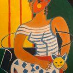Woman with Cat - Acrylique 30 X 24 po © Gouvernement du Canada