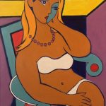 Seated Girl with Bikini - Acrylique 30 X 24 po © Gouvernement du Canada